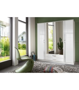 Schränke German 180cm Wide 4 Door Mirrored Wardrobe