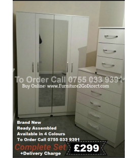 4 Door Wardrobe + 2 Mirrors + Bedside Cabinet + 5 Draw Chest