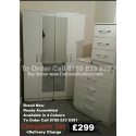 4 Door Wardrobe + 2 Mirrors + Bedside Cabinet + 5 Draw Chest
