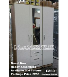 3 Door Wardrobe + Mirror Combi