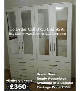 4 Door Wardrobe + 4 Mirrors Combi Set