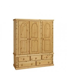 Traditional Solid Pine 3 Door + 5 Draws Wardrobe