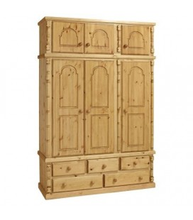 Traditional Solid Pine 3 Door + 5 Draws Wardrobe + Top Box
