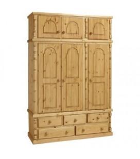 Traditional Solid Pine 3 Door + 5 Draws Wardrobe + Top Box