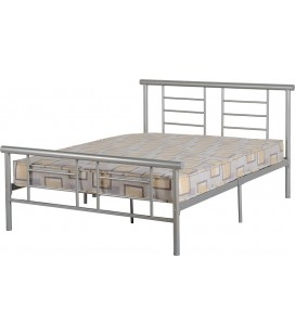 Lorna Metal Bed Frame - White, Silver and Black