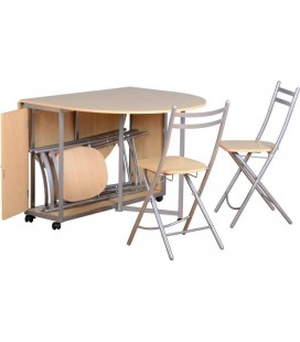 Newton Folding Space Saver Diner + 4 Chairs