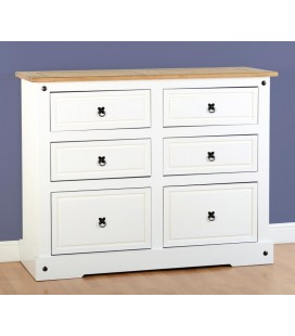 White Farmhouse 6 Drawer Chest