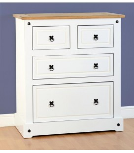 White Farmhouse 2+2 Chest Drawer