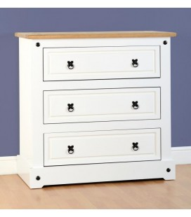 White Farmhouse 3 Drawer Chest
