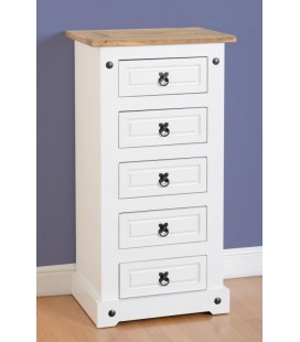White Farmhouse 5 Drawer Chest (Narrow)