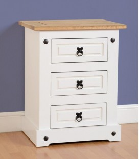 White Farmhouse 3 Drawer Bedside Cabinet