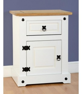 White Farmhouse 1 Drawer 1 Door Bedside Cabinet