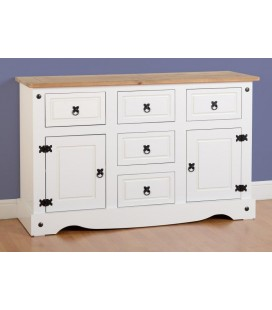 White Farmhouse 2 Door 5 Drawer Sideboard