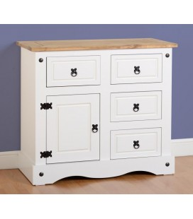 White Farmhouse 1 Door 4 Drawer Sideboard