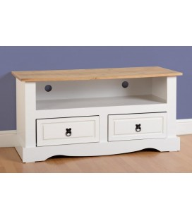 White Farmhouse 2 Drawer Flat Screen TV Unit
