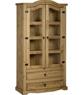Farmhouse 2 Door 2 Drawer Glass Display Unit