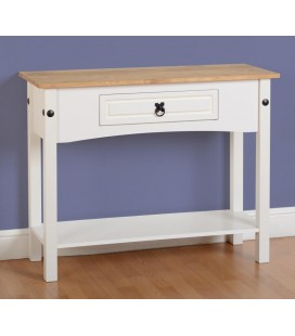 White Farmhouse 1 Drawer Console Table With Shelf