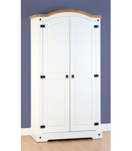 White Farmhouse 2 Door Wardrobe