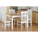 White Farmhouse Dining Set + 4 Chairs